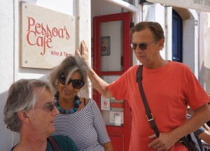 Matthijs, Isabel and John outside Pessoa's cafe, Tavira