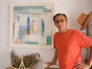 John Lamonby at Pessoa's cafe, Tavira